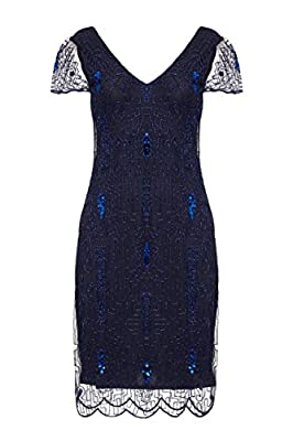 gatsbylady london Downton Abbey Flapper Dress in Navy Blue - Quality Handmade Flapper Dresses for Women