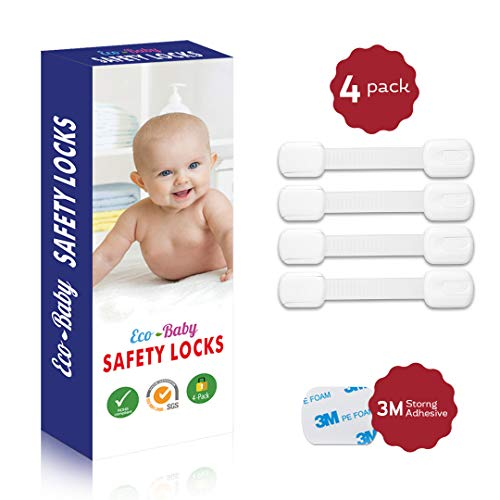 Child Safety Strap Locks (4 Pack) for Fridge, Cabinets, Drawers, Dishwasher, Toilet, 3M Adhesive No Drilling - by Eco-Baby