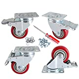 DICASAL 3 Inch Heavy Duty Plate Casters Wheels Durable Large PVC Wheels Double Brakes Castors Highly Load Capacity 4 Pack