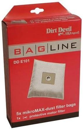 5 bolsas aspirador + 1 filtro aspirador Dirt Devil M7020, M7060 dde101: Amazon.es: Hogar