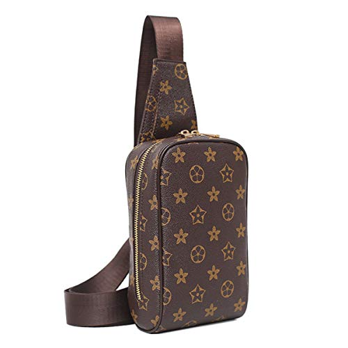 Chest Bag for Men Leather Sling Backpack Fashion Casual Crossbody Shoulder Bag Women Travel Sling Daypack Outdoor Messenger Bag(Men Chest Bag for Brown)