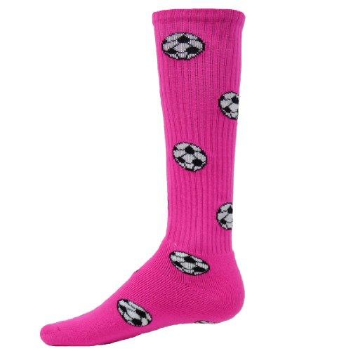 Red Lion Soccer Balls Design Athletic Sports Knee High Socks ( Neon Pink - Medium (Red Lion Kids Soccer Socks)