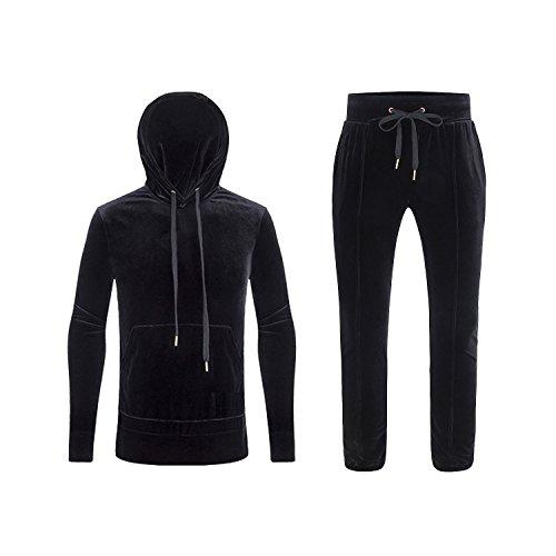 Mens Athletic Velvet Fleece Tracksuit Jogging Sweatsuit Activewear