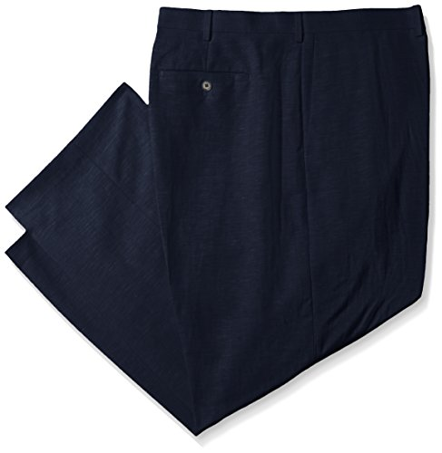 nd Tall Easy Care Linen-Blend Flat-Front Dress Pant, Blues, 54W x 30L ()
