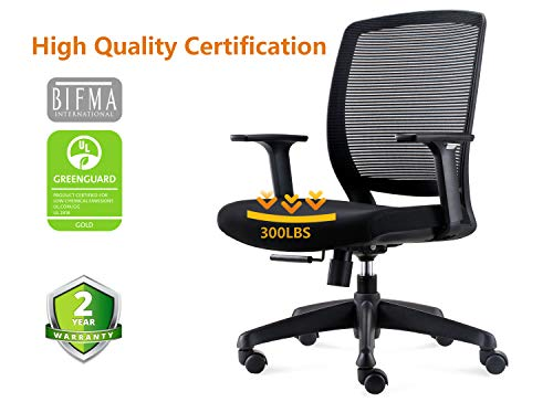 Chairlin Ergonomic Office Chair Mesh Task Chair Mid Back Desk Chair with Lumbar Support Black