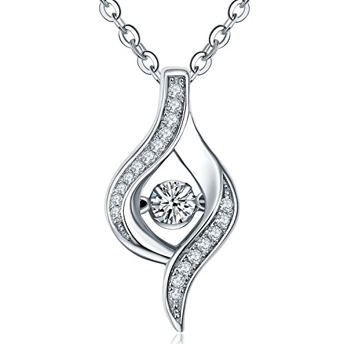 YL The Eye of Lover Necklace Sterling Silver Dancing Diamond Pendant Cubic Zirconia Jewelry Mother's Day Gift