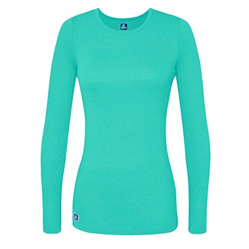 Adar Womens Comfort Long Sleeve T-Shirt Underscrub Tee - 2900 - Sea Glass - - Shows Clothes Under Glasses