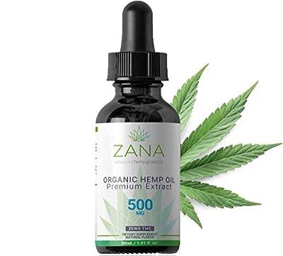 ZANA ZERO CBD - Hemp oil extract ( 500mg ) - full spectrum natural drops for pain and stress relief, Anti-inflammatory, Better Sleep -1FL Oz (30ml) - Lab Tested! - Zero THC Cannabidiol Cannabis from Ion Fulfillment