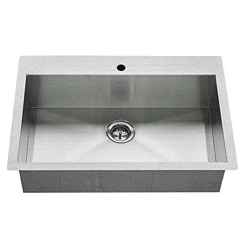 American Standard 18SB.9332211.075 Edgewater Zero Radius Dual Mount 33x22 Single Bowl w/grid and drain Stainless Steel