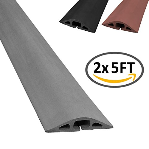 Rubber Cord Tip - D-2 Rubber Duct Cord Cover - Length: 5FT - Color: Gray - 2 Pack (2 x 5FT Pieces = 10FT)