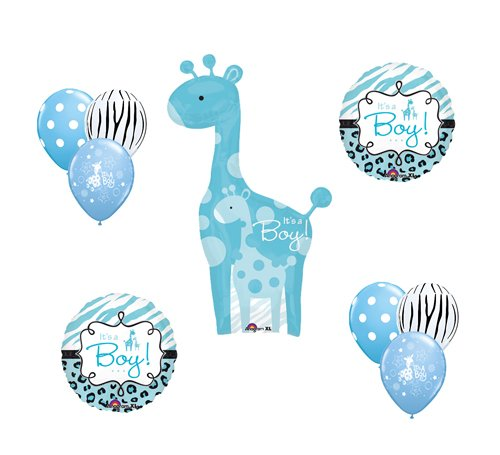 Safari It's a Boy Giraffe Blue Zebra Balloon Baby Shower Party Supply Gift Set -