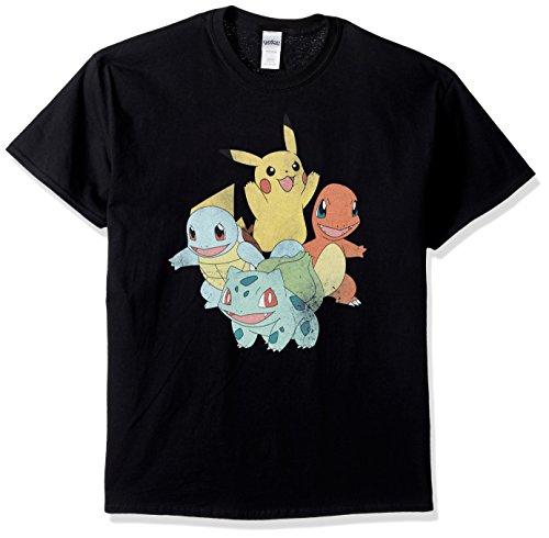Pokemon Men's Groupshot T-Shirt, Black, Medium