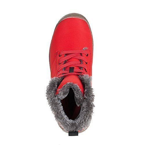 Men Snow Boots Women Fur Lined Ankle Sneakers High Top Winter Shoes Lace Up(Red,39)