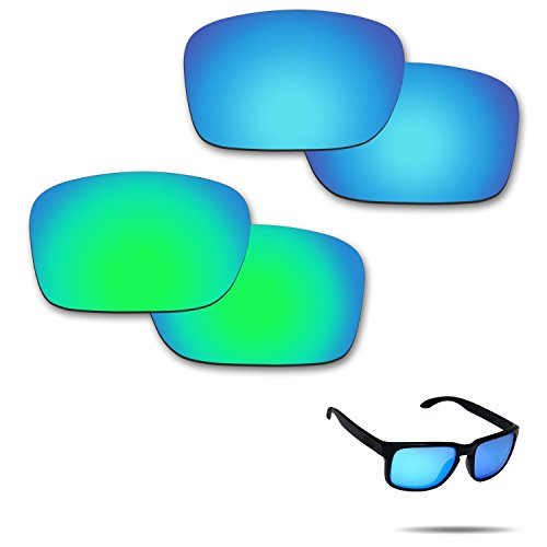 Fiskr Anti-Saltwater Polarized Replacement Lenses for Oakley Holbrook Sunglasses 2 Pairs Packed (Ice Blue & Emerald Green)