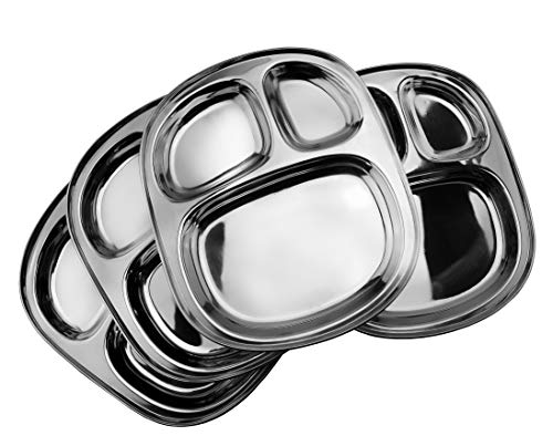 Divided Oblong - Stainless Steel Divided Plates/Compartment Trays (4-Pack); 9.8 x 8.1 Inches Oblong 3-Section Mini Mess Trays, Great Size for Lunches, Kids, Portion Control, Camping & More
