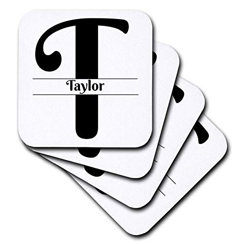 Taylor Ceramic Coasters - 3dRose BrooklynMeme Monograms - Bold Script Monogram T - Taylor - set of 8 Ceramic Tile Coasters (cst_310113_4)