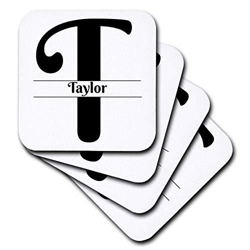 Coasters Taylor Ceramic - 3dRose BrooklynMeme Monograms - Bold Script Monogram T - Taylor - set of 8 Ceramic Tile Coasters (cst_310113_4)