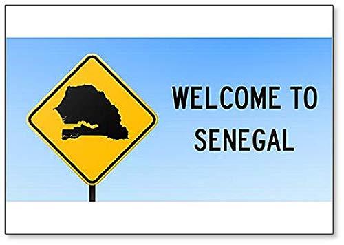 Welcome to Senegal Map on Road Sign Illustration Fridge Magnet