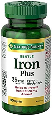 Nature's Bounty Gentle Iron Supplement, Helps Prevent Iron Deficiency Anemia, 28mg, 90 Caps