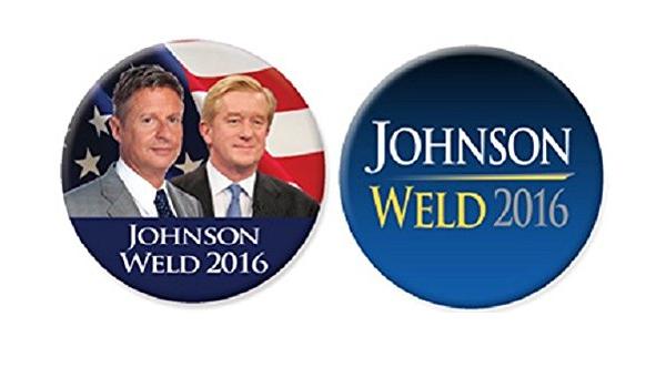 "mini xmas 2016 Gary Johnson /& Bill Weld 1/"" // Libertarian Party Campaign Button"