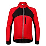 Wolfbike WOSAWE Men's Cycling Fleece Thermal Winter Jacket, Size XL, Black/Red