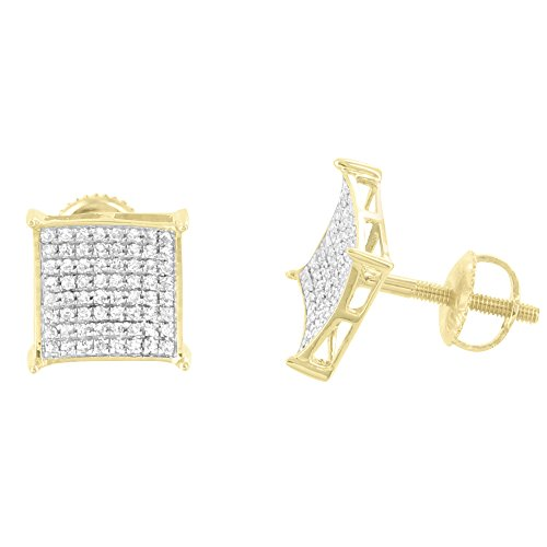 10k Yellow Gold Earrings Real Diamond Studs 0.25 Carat Screw Back 9mm Brand New by Master Of Bling
