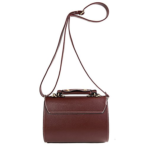 Brown Shoulder Pu Relief Lady Retro Donna Exquisite Box Leather Messenger Bag Vococal TzZgwS