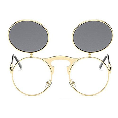 Flip soleil Mirror de 8 Or Verres Nouveau en lunettes HuaYang UV400 Steampunk Up Spectacles gris Monture Style métal Couleurs Frame Rond AqxYg