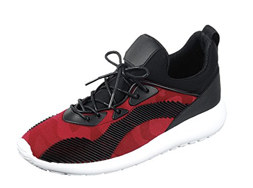 Forever Link Mujeres Transpirable Con Cordones Raya Lateral Casual Sport Fashion Sneaker Red