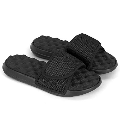 PR Soles Adjustable Strap Massaging Recovery Slide Sandal | Black | Mens 10