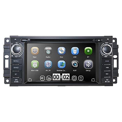 Hizpo Car Stereo GPS DVD Player for Dodge Ram Challenger Jeep Wrangler JK Head Unit Single Din 6.2