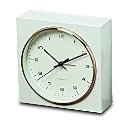 WHW Whole House Worlds Elemental Block Clock with Alarm, Analog Table Top Time Piece, Quartz Movement, White, 6 1/2 Inches Square, Gold Rim, Modern Style, 1 AA Battery (Not Included,)