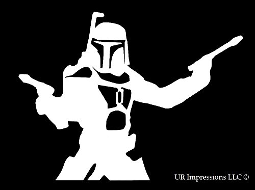 Jango Fett Dual Blasters Star Wars Inspired Decal Vinyl Sticker Cars Trucks Walls Laptop White 5 5 In Uri284