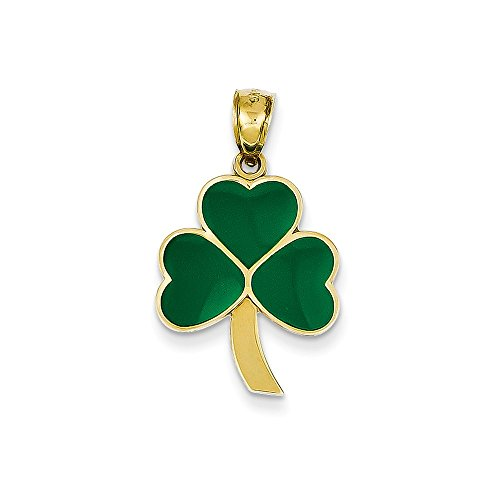 - 14k Yellow Gold Polished Textured back Green Enameled Shamrock Pendant - Measures 28x15mm