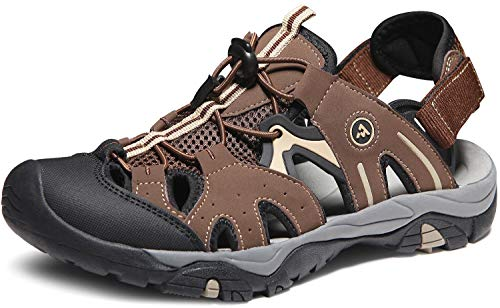 ATIKA Men's Sport Sandals Trail Outdoor Water Shoes 3Layer Toecap, Rocky(m121) - Brown, 12