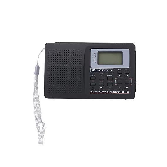 KKmoon Portable FM/AM/SW Radio Multiband Digital Stereo Radio Receiver Earphone Output Time Display External Antenna