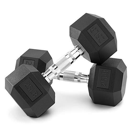 Bronze Times Hex Dumbbells Free Weights Solid Steel Hand Weights Dumbbells Set, PVC Encase Coating Black Dumbbell, Multi…