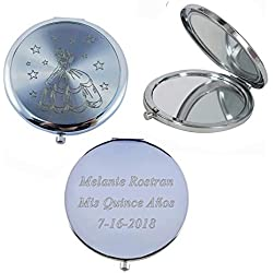 Personalized Cinderella Compact Mirror Favors (12 PCS) Silver - Quinceañera/Sweet 15/ Birthday/Gifts for Guests