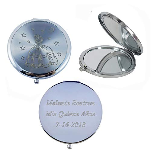 Personalized Cinderella Compact Mirror Favors  Silver - Quin