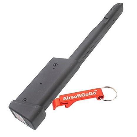 AirsoftGoGo 100rd Long Cargador para Marui 18C AEP/Cyma CM030 CM123 Airsoft AEP Llavero Incluido