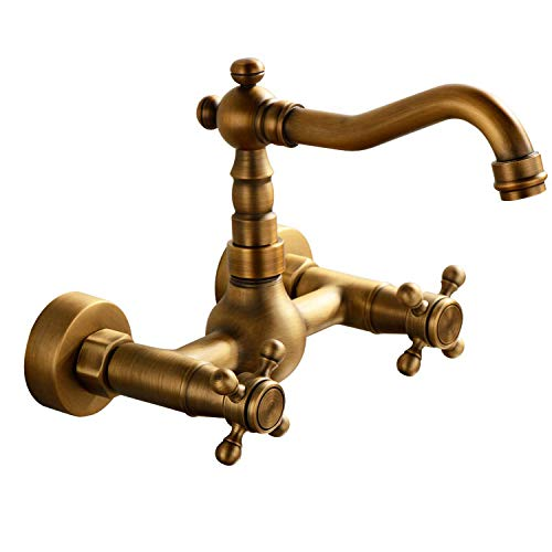 (GGStudy Wall Mounted Kitchen & Bathroom Sink Faucet With Double Cross Handle Antique Brass Finish)