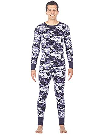 Men's Extreme Cold Waffle Knit Thermal Top and Bottom Set - Camo Blue - Medium