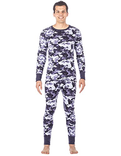 - Men's Extreme Cold Waffle Knit Thermal Top and Bottom Set - Camo Blue - Medium