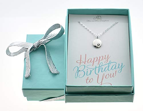 June Little girl's birthstone necklace in sterling silver on a 16