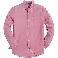De los hombres ajuste Regular, color sólido OXFORD Casual botón vestido de Down camisa