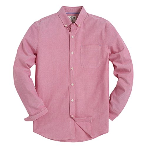 Men's Regular Fit Solid Color Oxford Casual Button Down Dress Shirt Red X-Large