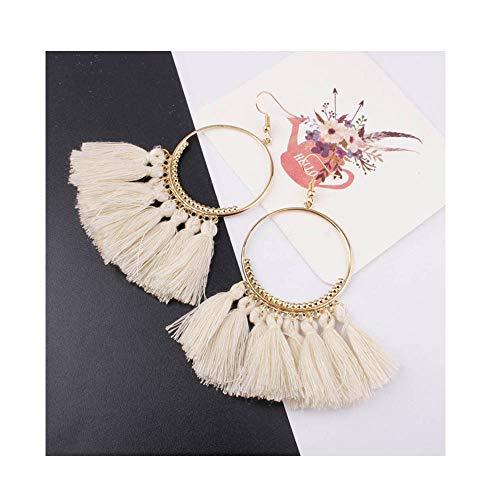 doublelovely Tassel Earrings for Women Ethnic Big Drop Earrings Bohemia Jewelry Rope Long Dangler Earrings Beige OneSize ()