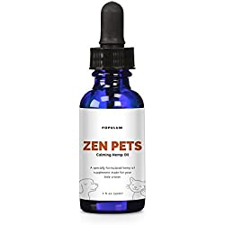 Zen Pets by Populum - Premium Hemp Oil Supplement For Dogs & Cats - Grown and Made in USA - 100% Natural & Honest Ingredients, Pure Hemp Oil + Hemp Seed Oil + Coconut Oil - 30 Servings (1oz)