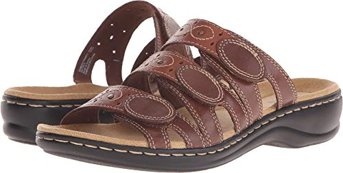 (CLARKS Women's Leisa Cacti Slide Sandal, Brown/Multi, 7 W US)