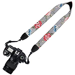 Elvam Camera Neck Shoulder Belt Strap for DSLR / SLR / Nikon / Canon / Sony / Olympus / Samsung / Pentax ETC - Gray Vintage Floral